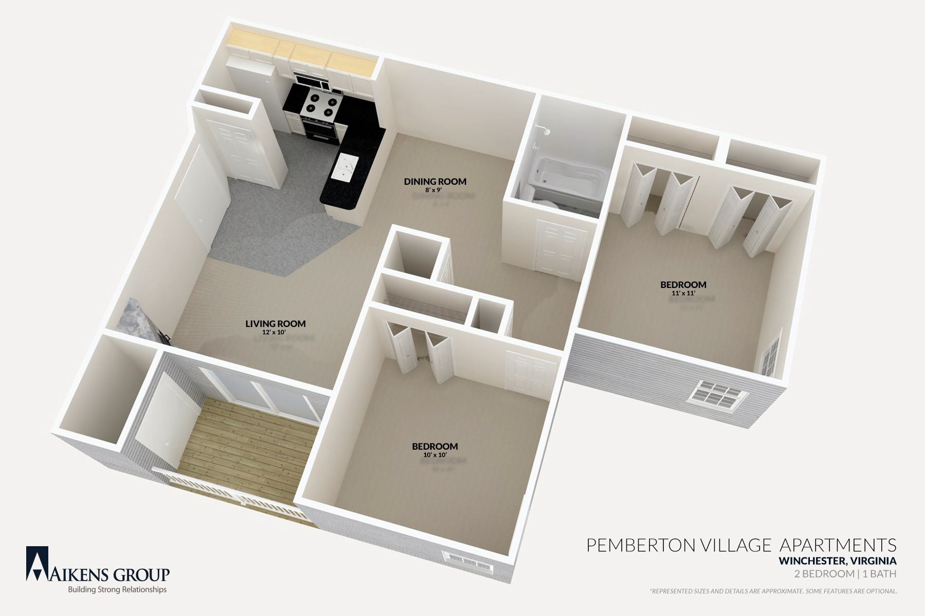 Pemberton Village Apartments   Winchester  VA   2BR 1BA Floorplan. Pemberton Village Apartments   Aikens Group