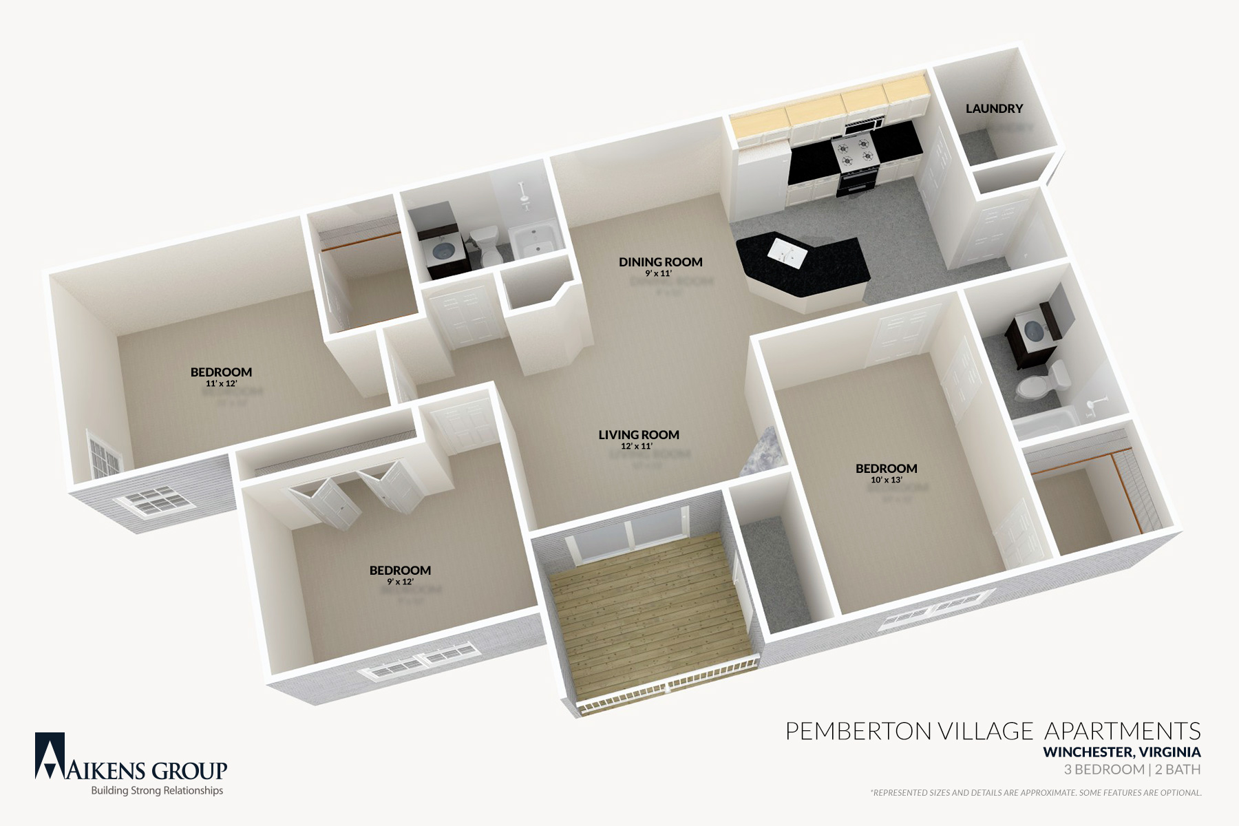 Pemberton Village Apartments   Winchester  VA   3BR 2BA Floorplan. Pemberton Village Apartments   Aikens Group
