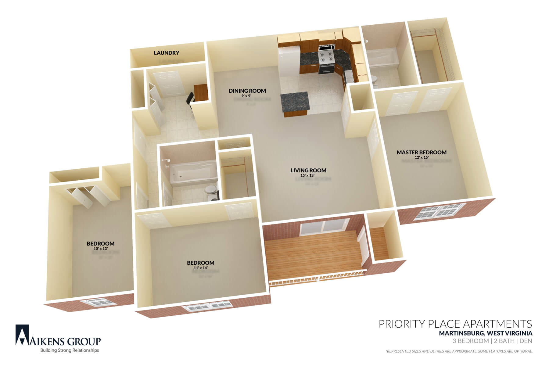 Priority Place Apartments 3BR Floorplan